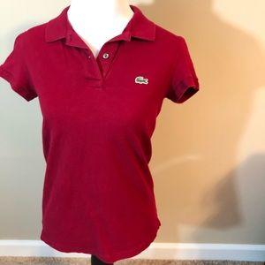 Lacoste women's polo raspberry size 38 (size 6)